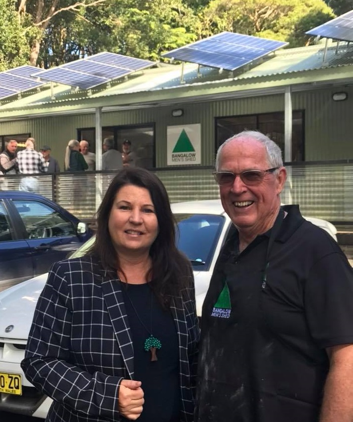 Tamara Smith Member for Ballina with Brian Mackney of Bangalow Men's Shed