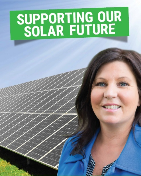 Tamara Smith Member for Ballina with solar panels