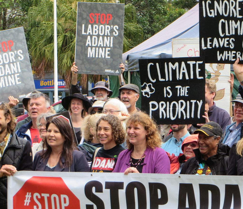 Tamara Smith Member for Ballina protesting to Stop Adani and make climate a priority