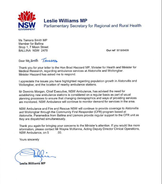 Letter from NSW Gov to Tamara Smith Member for Ballina re no ambulance for Alstonville
