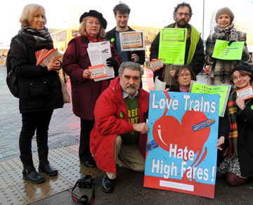 Love rail protest at Oxford Rail Station