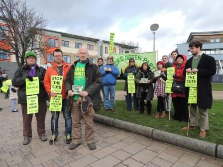 Green Party councillors, candidats and members at the anti-cuts march in Feb 2014