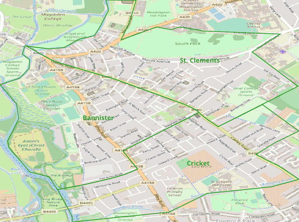 Green proposed wards in E Oxford