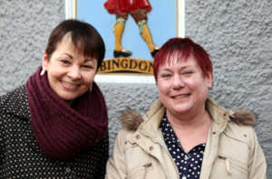 Cheryl Briggs with Caroline Lucas in Abingdon