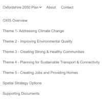 Oxfordshire 2050 plan menu