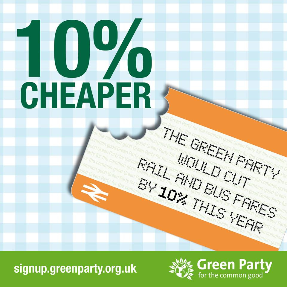 The Green Party would cut rail and bus fares by 10%