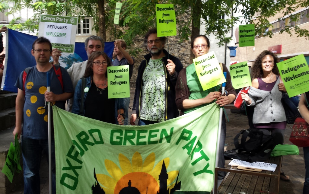 Green Councillors at the Refugees Welcome rally, on Sep 1th