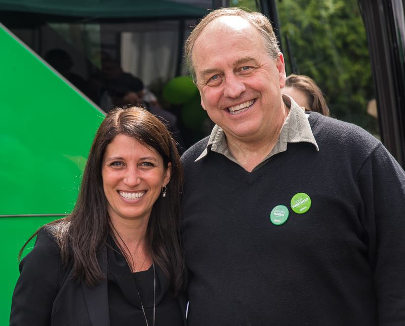 BC Green Party volunteer Kim Darwin and leader Andrew Weaver.