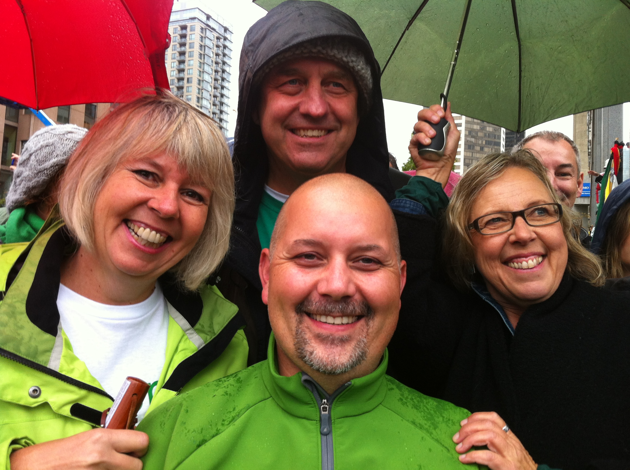 Adam Olsen, Andrew Weaver, Adriane Carr and Elizabeth May at the Walk for Reconciliation in Vancouver 2013