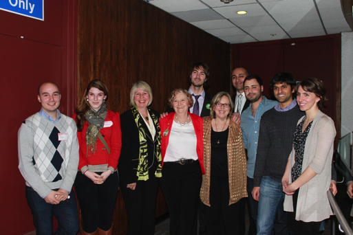 Jane Sterk, Elizabeth May and Adriane Carr with SFU students at the BC Greens 30th Anniversary Party