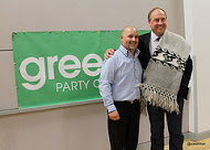 Adam Olsen and Andrew Weaver at the 2013 AGM in Vancouver