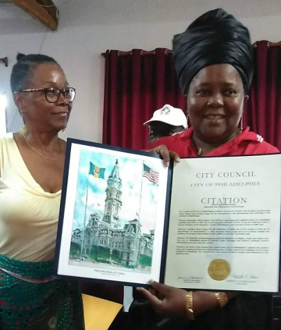 Olivia pesenting citation from Philadelphia to Mayor of Manjacaza