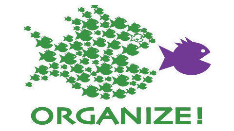 Many small green fish eating a large purple fish - Community Organizing