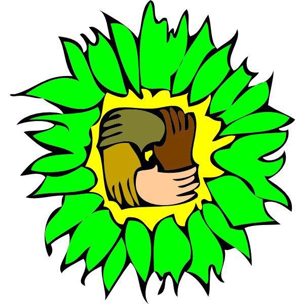 Green Party logo of a green and yellow sunflower withinterlocking hands in the middle