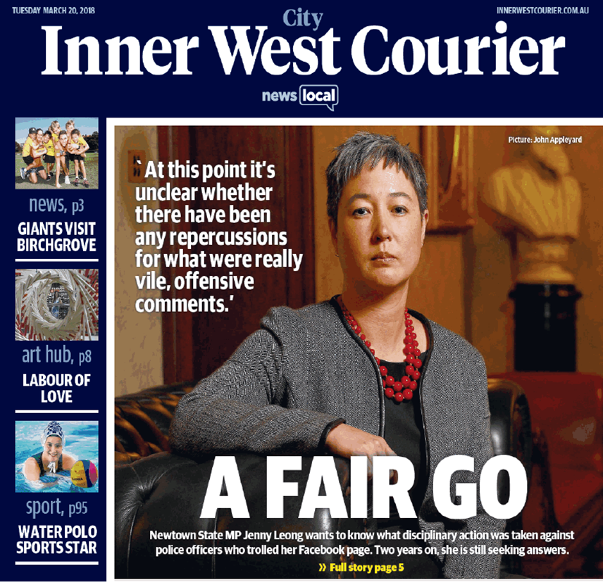 Inner West Courier front page
