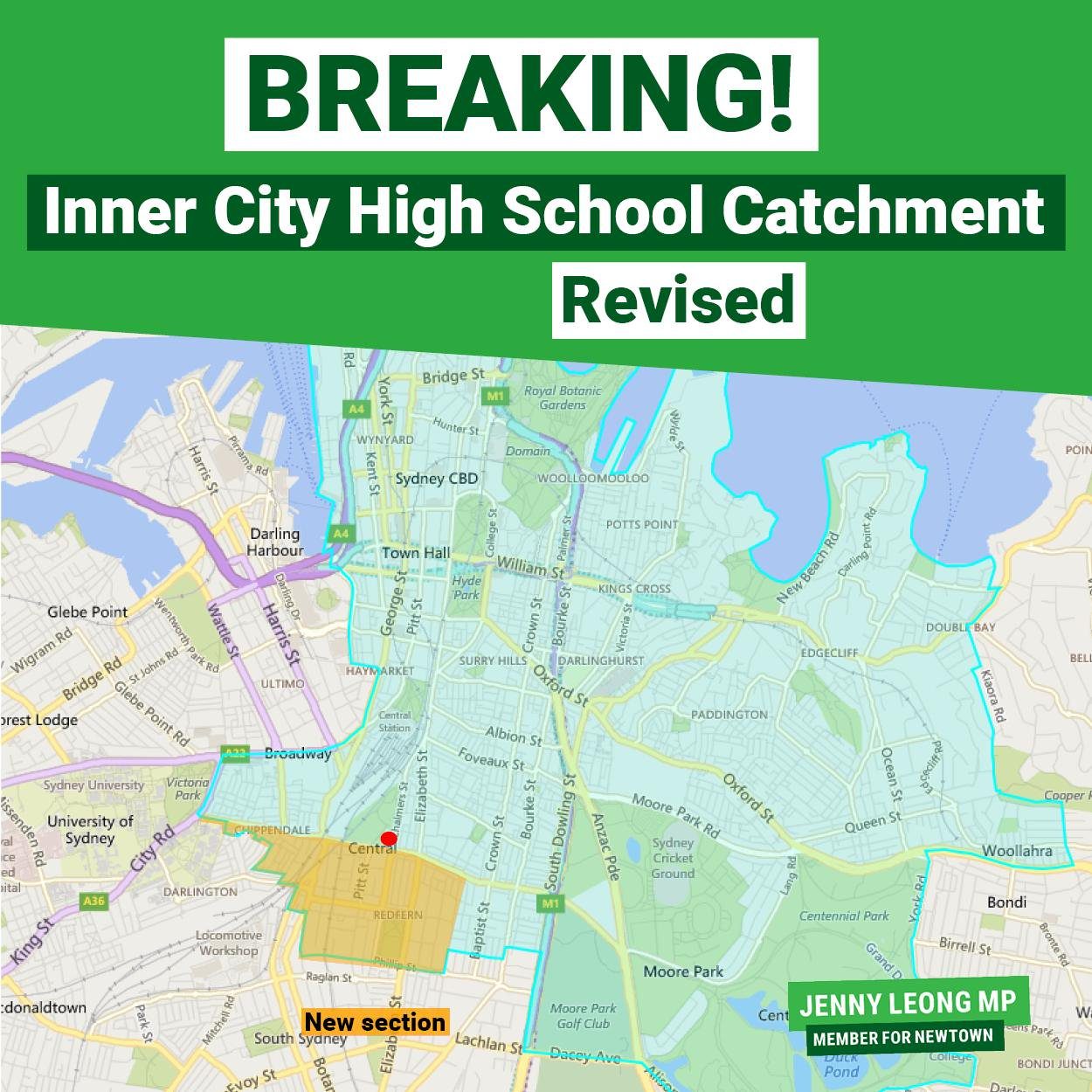 Inner Sydney HS catchment map