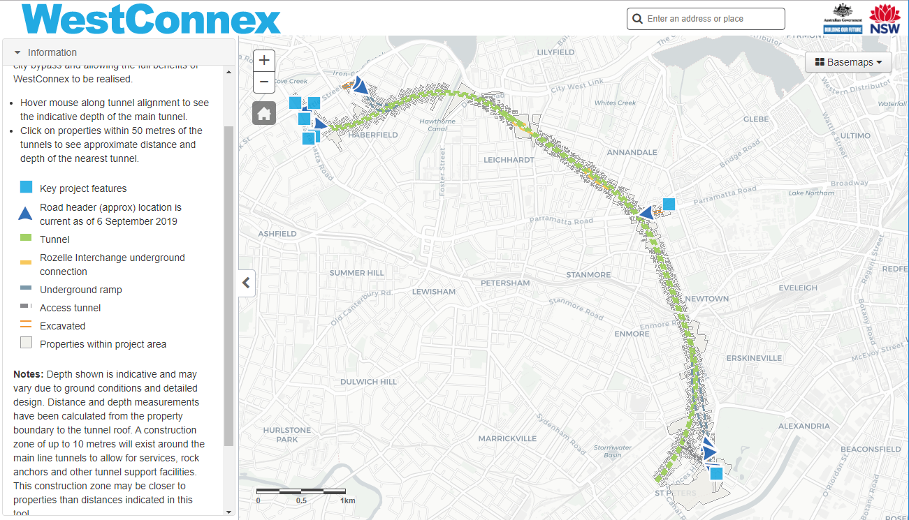 click to view map on Westconnex site