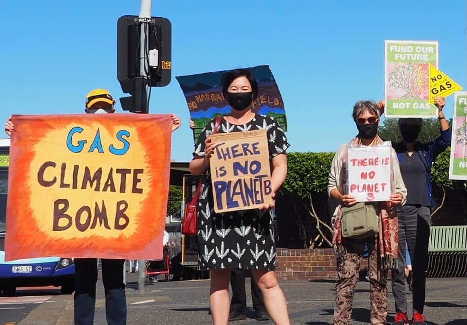 Jenny in a face mask, holding a 'there is no planet b' sign with 3 other protesters with signs.