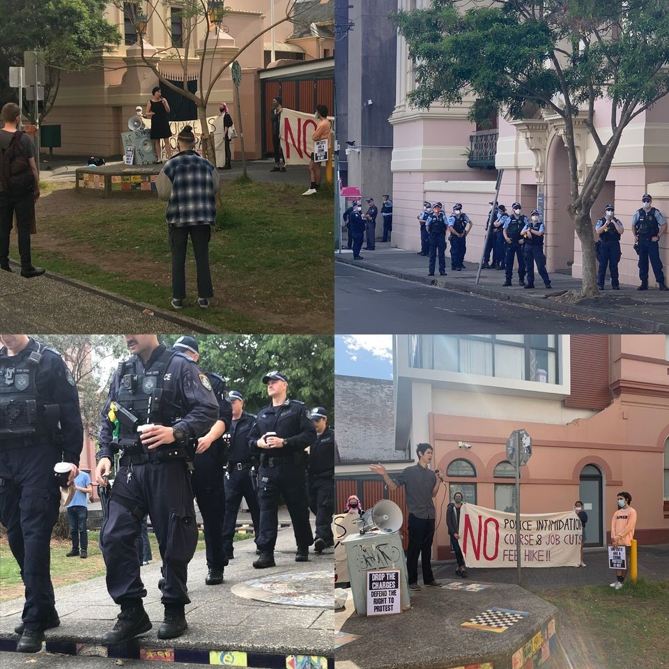 4 images of a small protest outside Newtown Court with a large number of police.