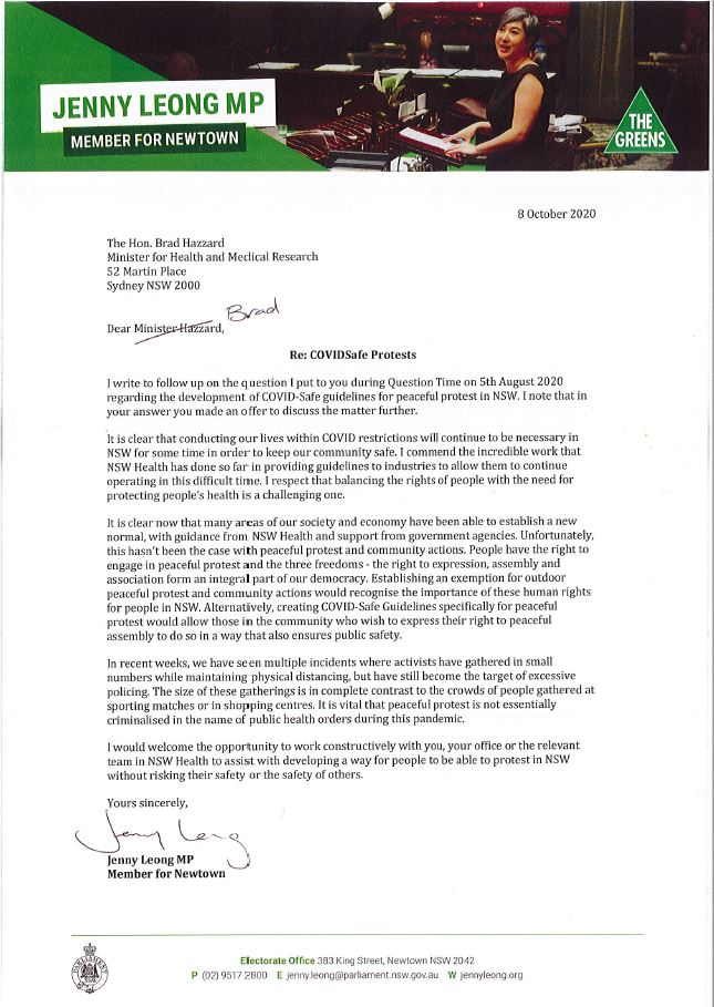 An image of the letter sent from Jenny to Minister Hazzard asking to speak further about creating COVID-Safe protocols for protests.