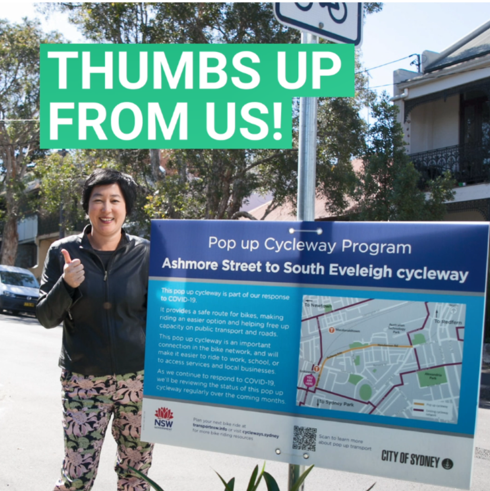 Jenny giving a thumbs up for cycleways