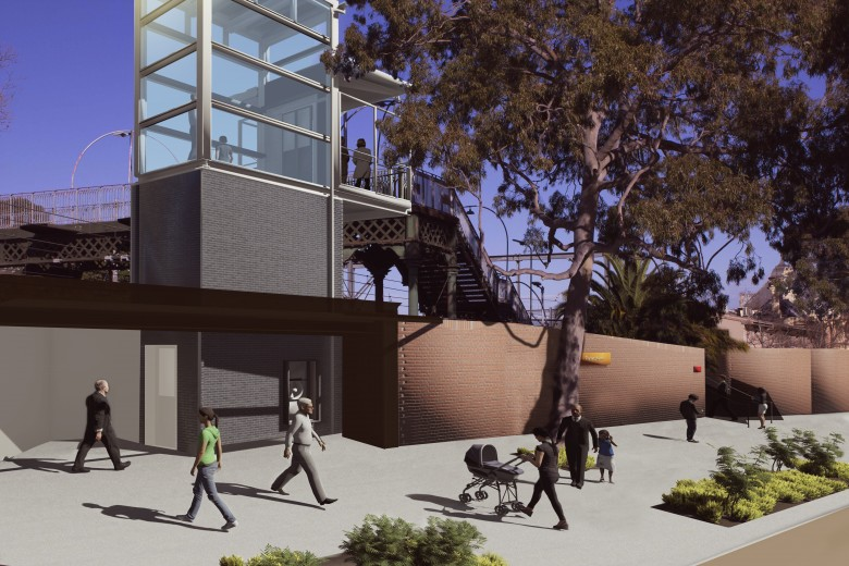 Artist's impression of the proposed Petersham Station Upgrade, subject to change during detailed design