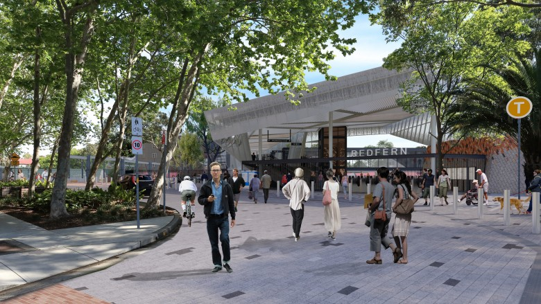 Concept image for entrance to Redfern station.