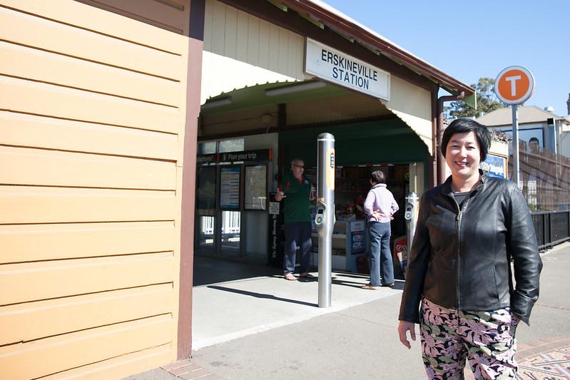 Jenny Leong MP pictured outside of Erskineville Station.
