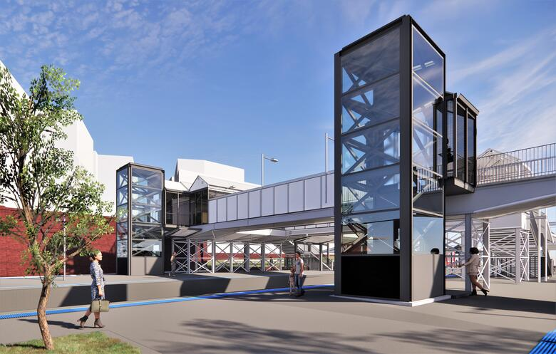 Artist's impression of proposed new lifts and canopy at St Peters station.