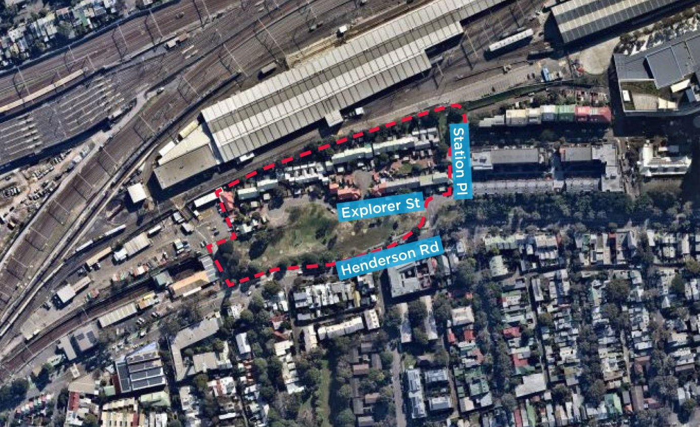 Map with an outline around Henderson Rd, Explorer St and Station Pl.