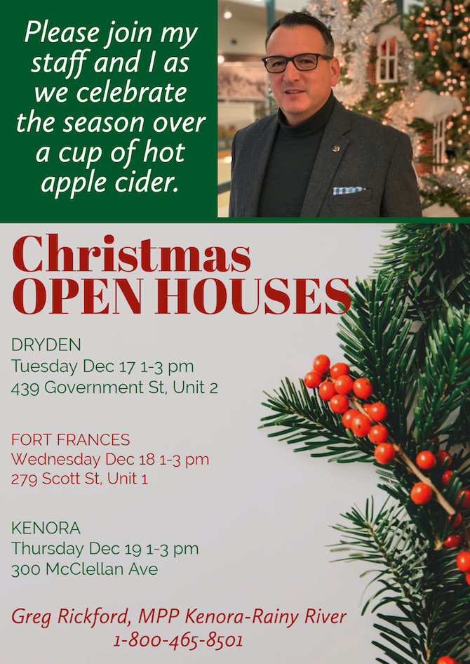 MPP Greg Rickford Holiday Open Houses 2019