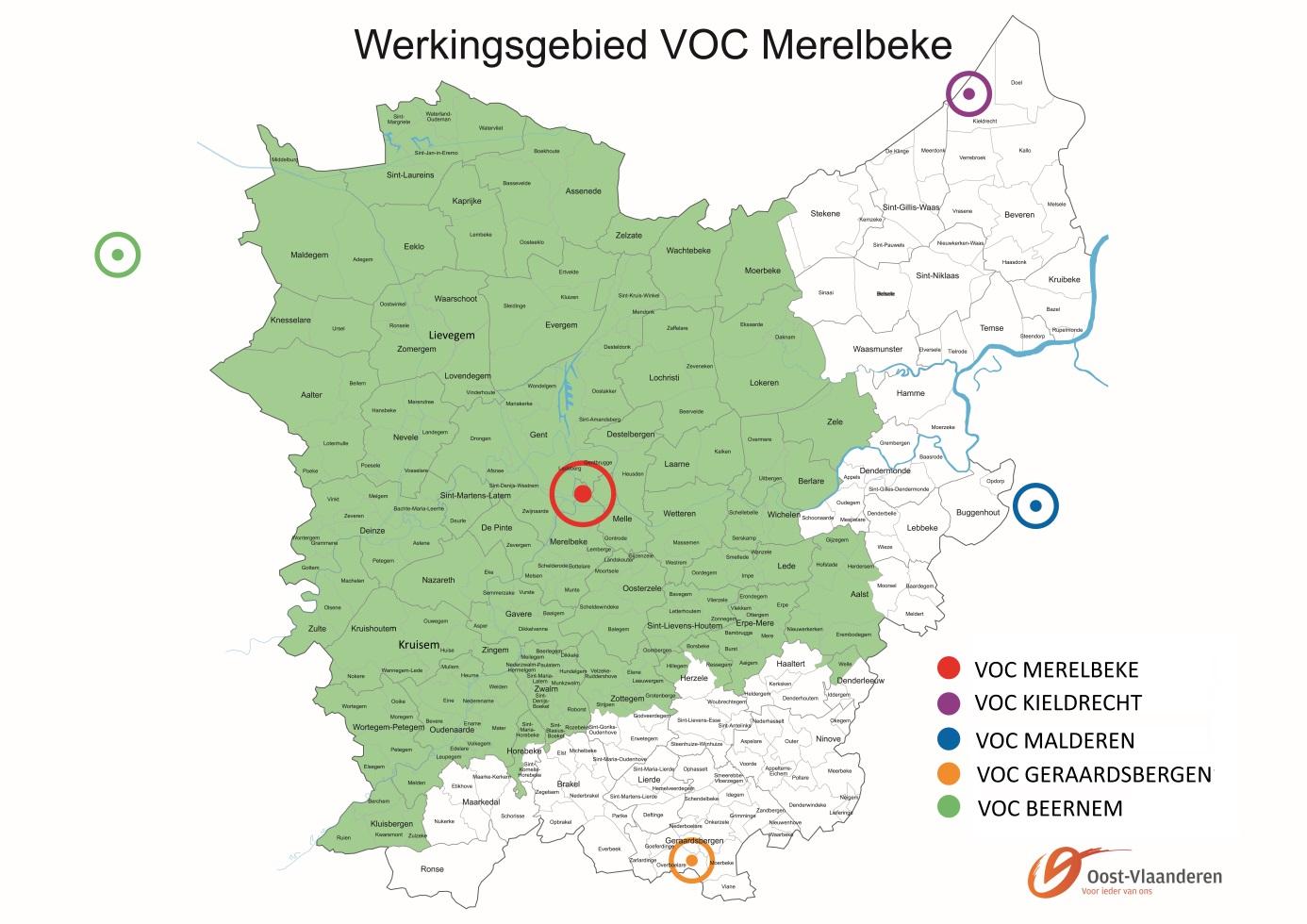 Ter illustratie, het werkingsgebied van VOC Merelbeke