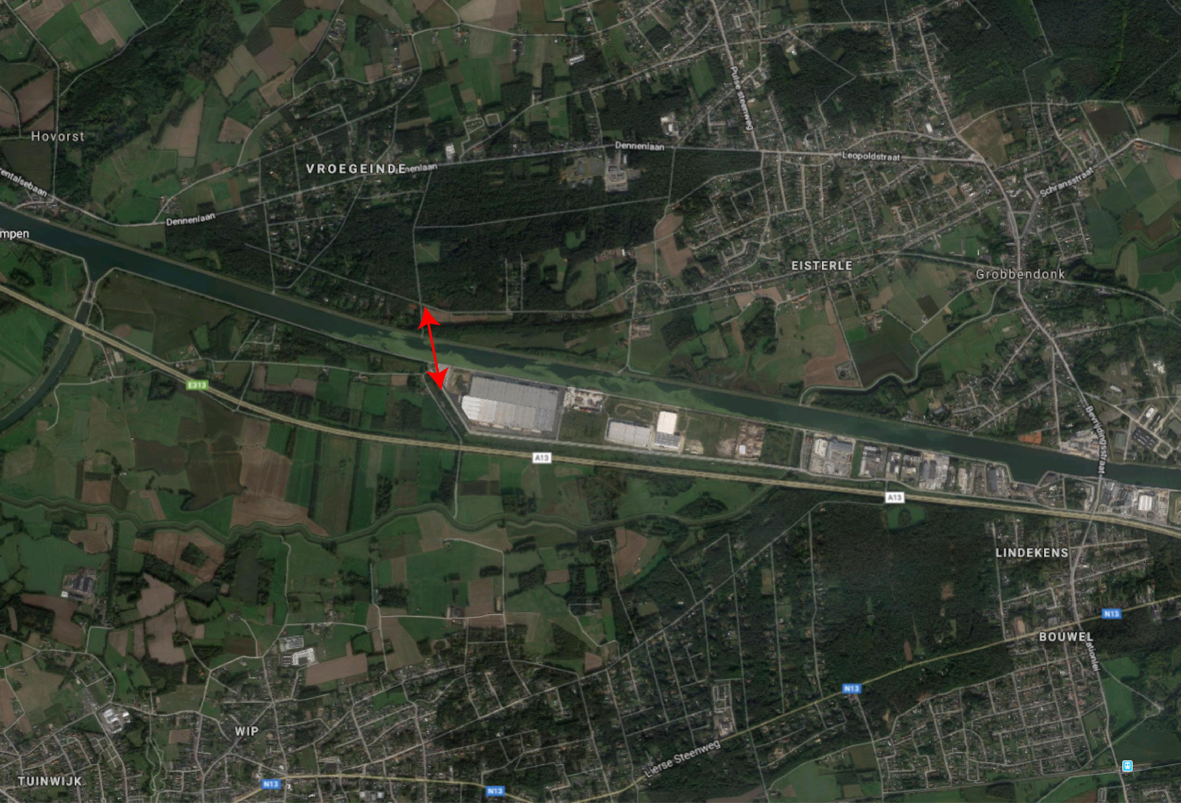 De locatie van de gesuggereerde brug