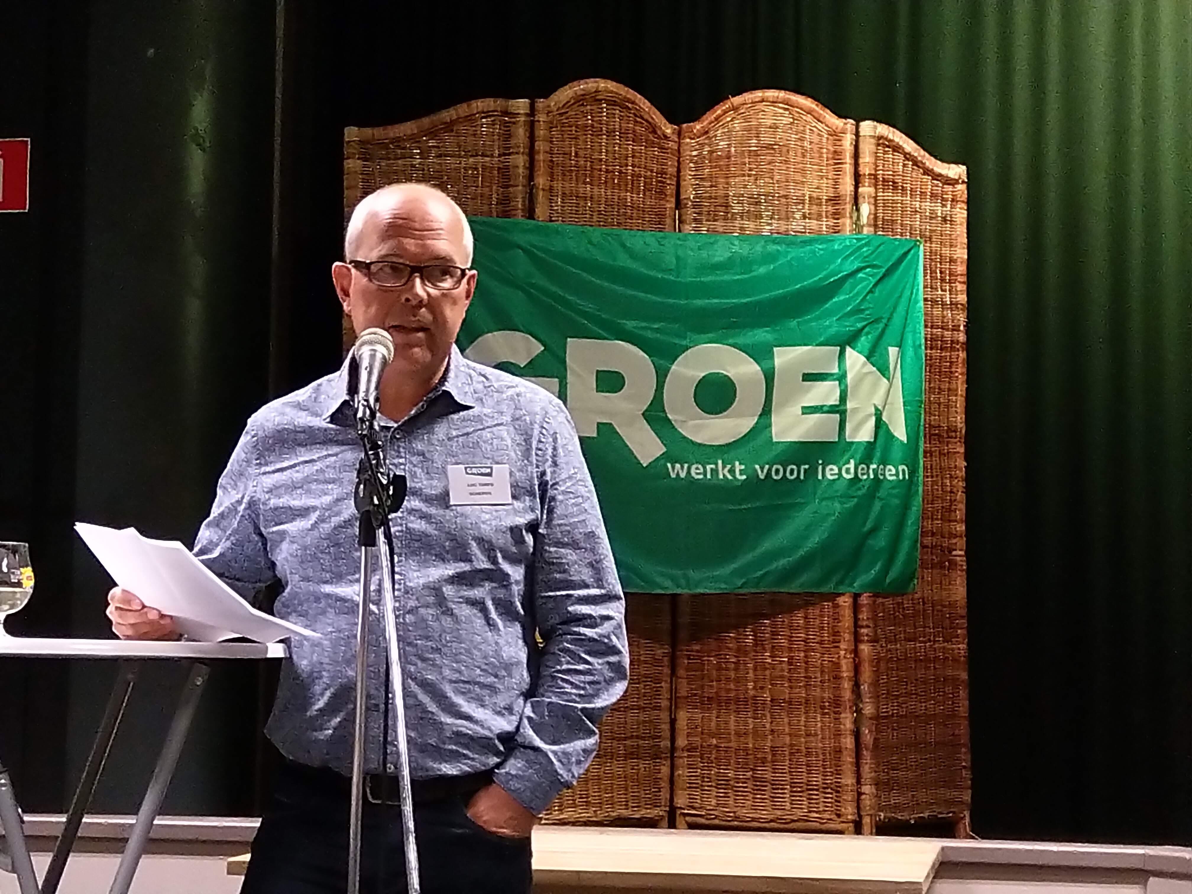 Luc Torfs tijdens uitreiking Groen Pluim