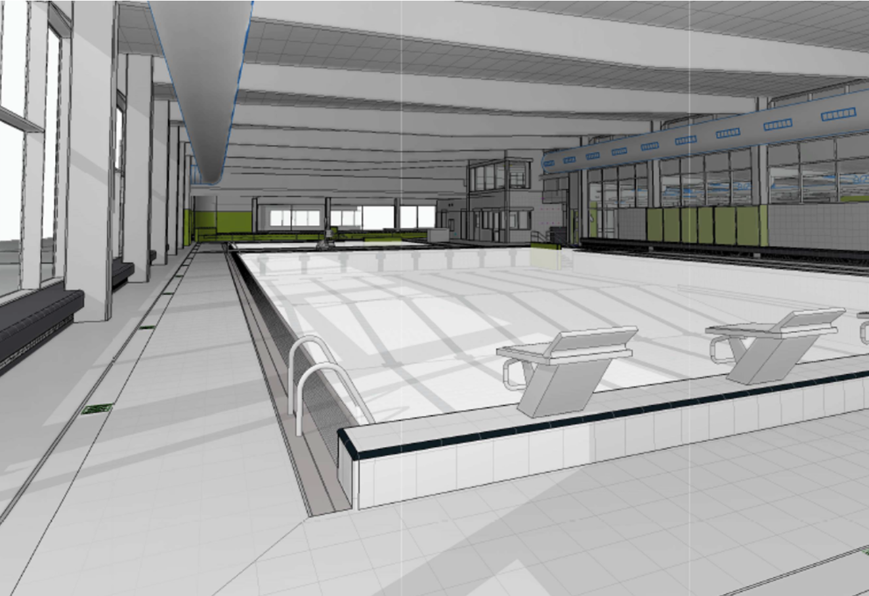3D visualisatie van groot zwembad