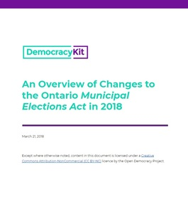 An Overview of Changes to the Ontario Municipal Elections Act in 2018