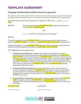 Confidentiality and Data Protection Agreement Template