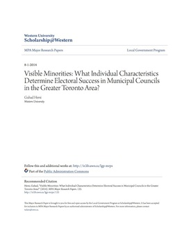Visible Minorities: What Individual Characteristics Determine Electoral Success in Municipal Councils in the Greater Toronto Area?