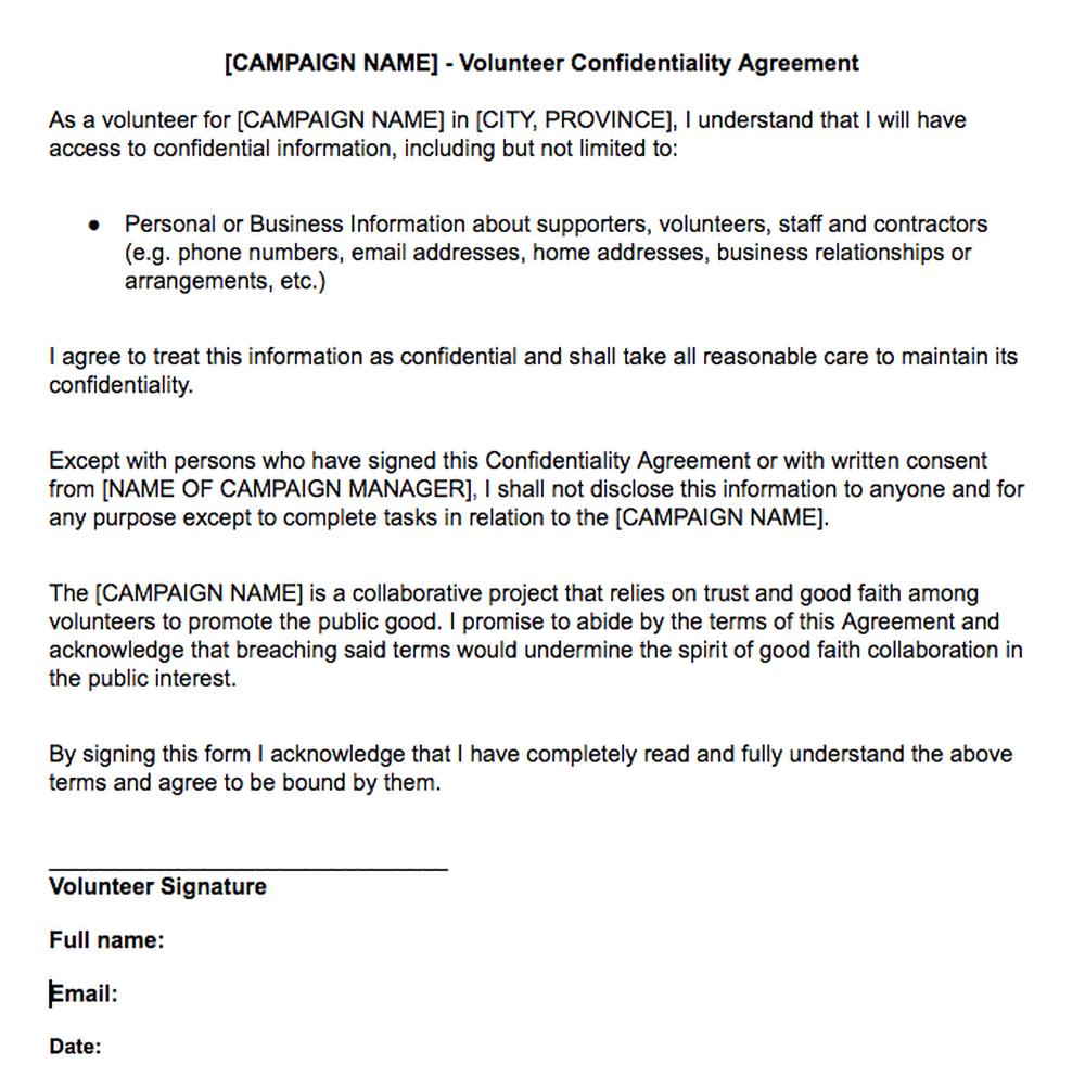 Volunteer confidentiality agreement civic campaign resource by volunteer confidentiality agreement platinumwayz