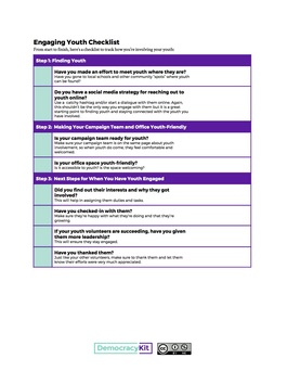 Youth Volunteer Engagement Checklist