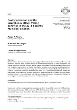 Paying attention and the incumbency effect: Voting behaviour in the 2014 Toronto Municipal Election