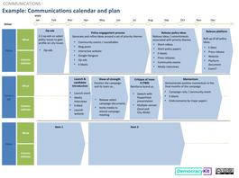 Example: Communications Calendar and Plan