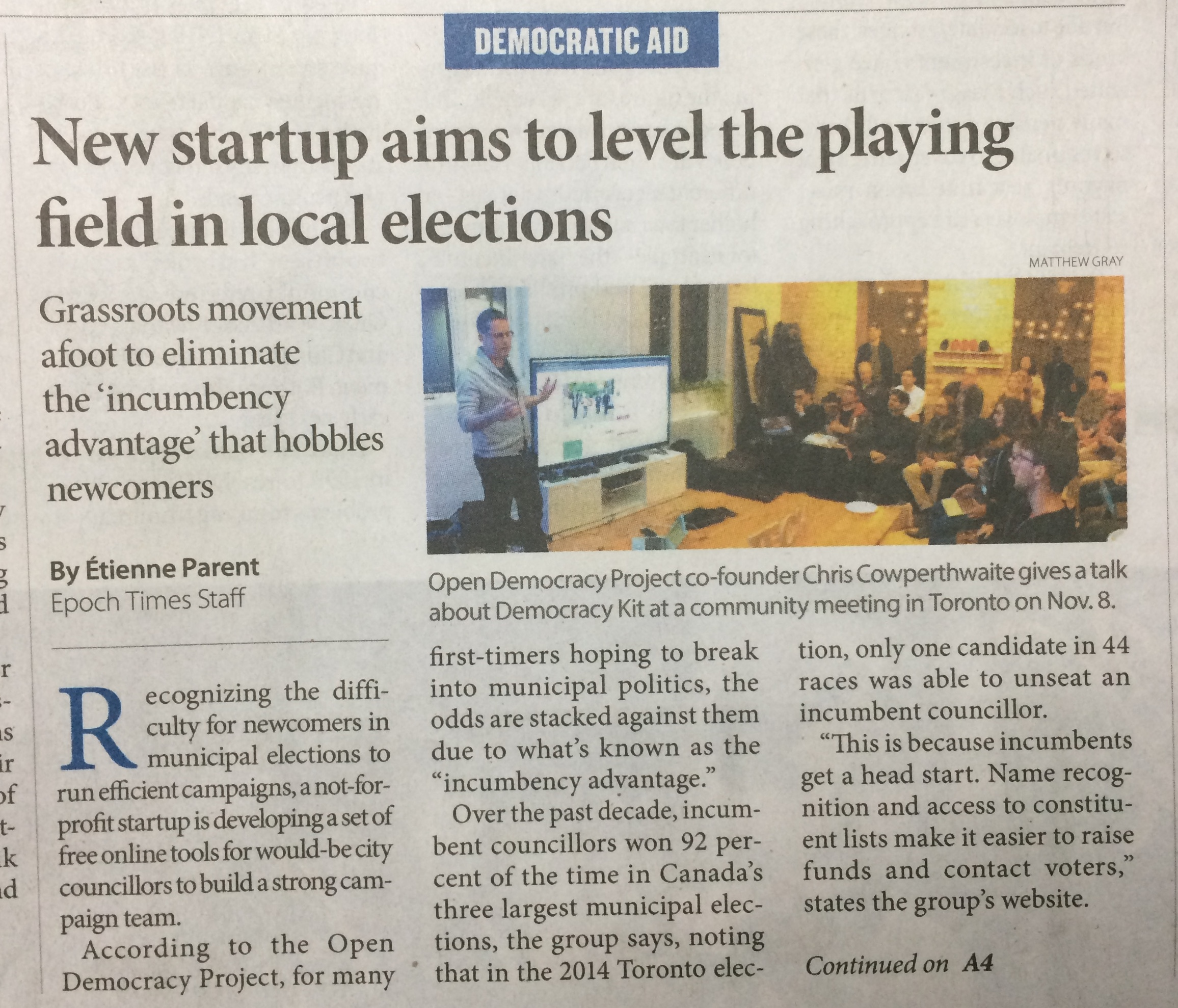 New Startup Aims to Level the Playing Field in Local Elections - The Epoch Times