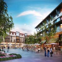 The Bay Meadows Town Square project features housing above retail in a public plaza