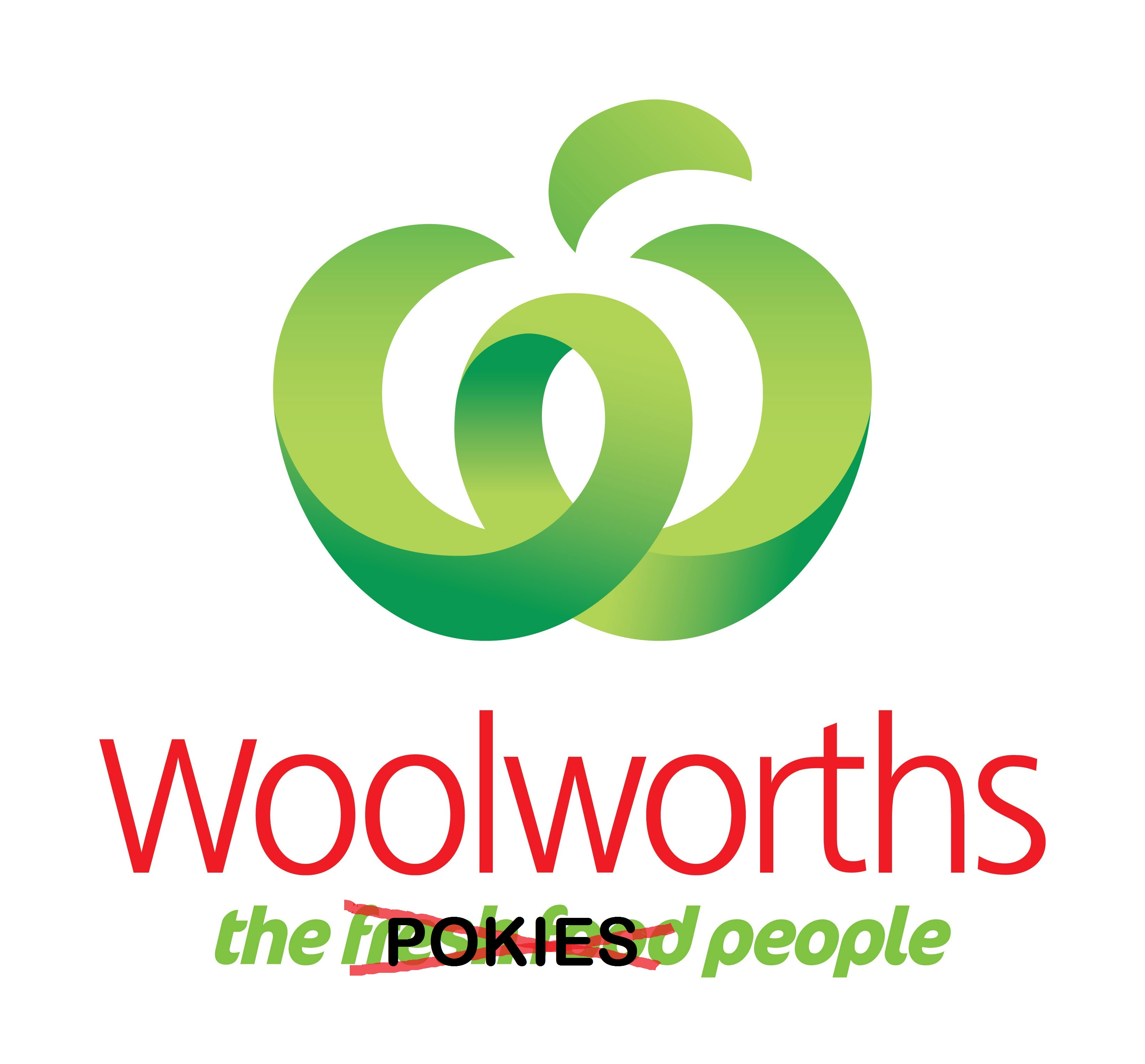 Woolworths logo changed to read The Pokies People