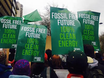 Fossil Free Future protest banners