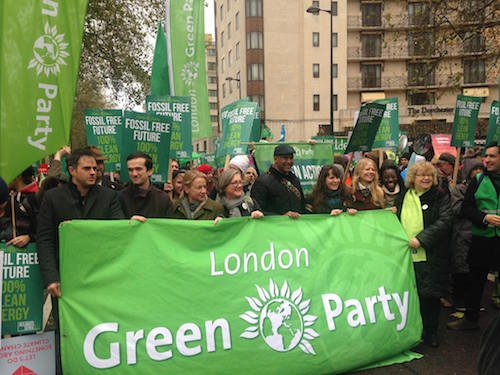 London Green Party members with banner