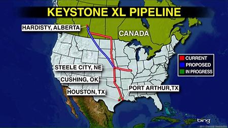 Map of Keystone Pipeline