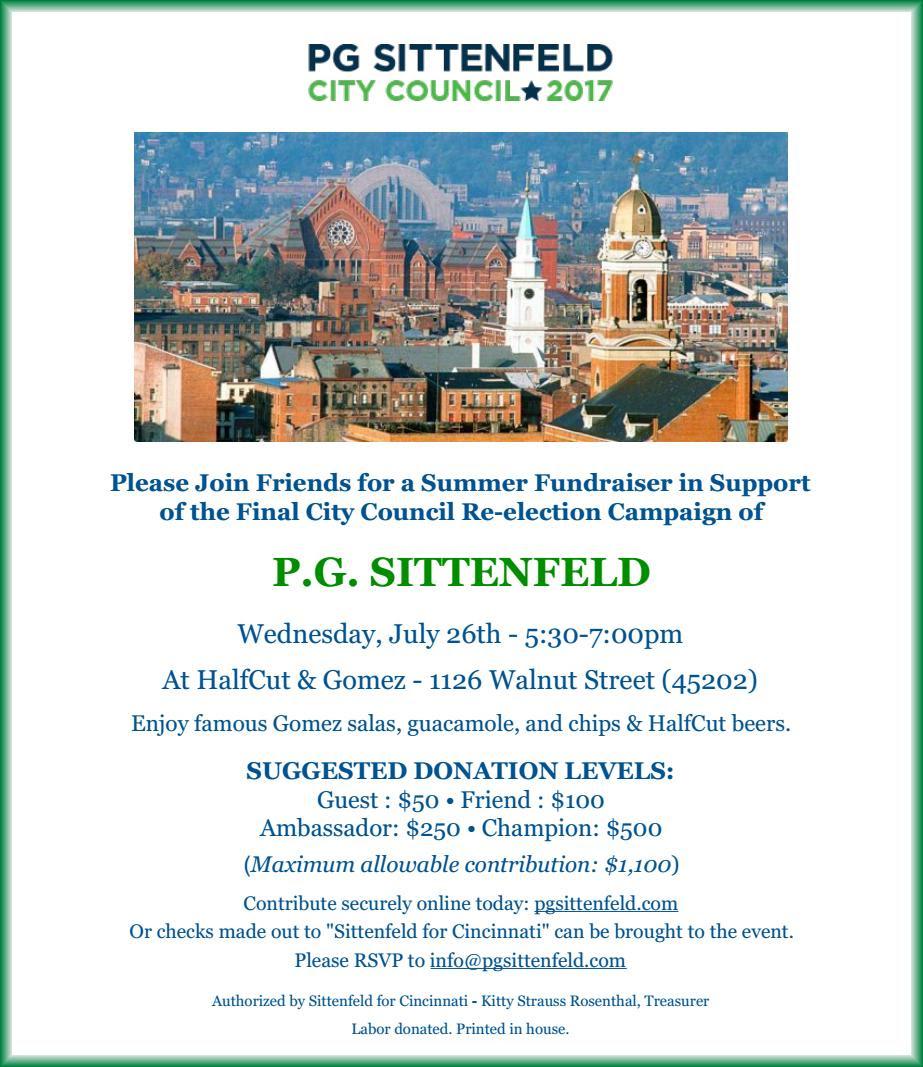 P.G. Sittenfeld Summer Fundraiser