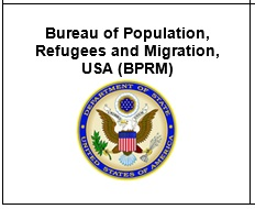 A logo from the US Department of State's Bureau of Population, Refugees and Migration